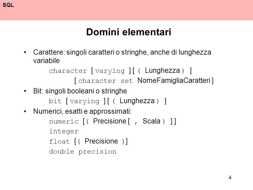 Domini elementari Carattere: singoli caratteri o stringhe, anche di lunghezza variabile. character [ varying ] [ ( Lunghezza ) ]